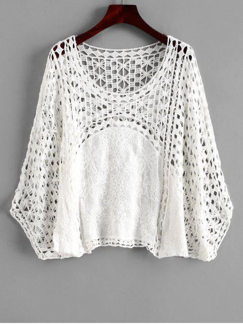 best Crochet Poncho Top - WHITE ONE SIZE Mobile
