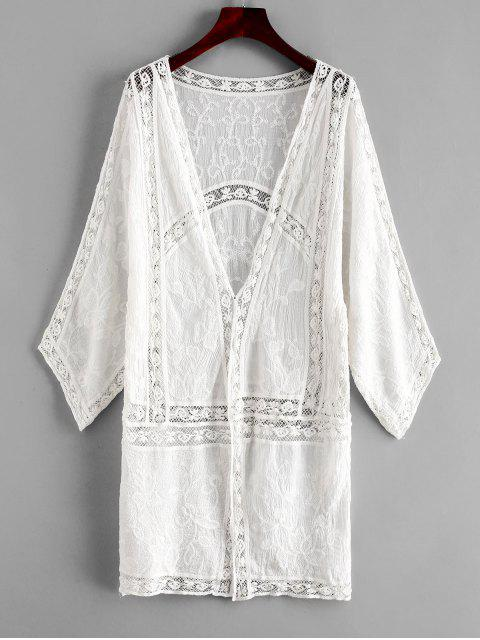 women Embroidered Crochet Panel Kimono - WHITE ONE SIZE Mobile