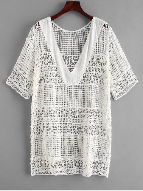 new Panel Crochet Beach Dress - WHITE ONE SIZE Mobile