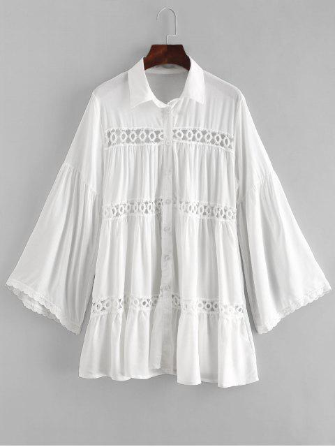 womens Crochet Panel Tunic Top - WHITE ONE SIZE Mobile