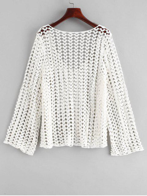 ladies Open Back Crochet Top - WHITE ONE SIZE Mobile