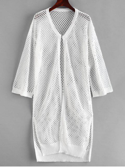 women's Side Slit Crochet Kimono - WHITE ONE SIZE Mobile