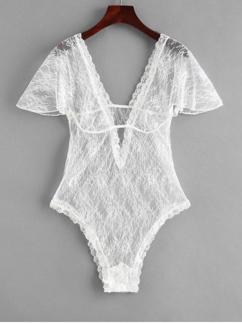 new Plunging Lace Short Sleeve Lingerie Teddy - WHITE S Mobile