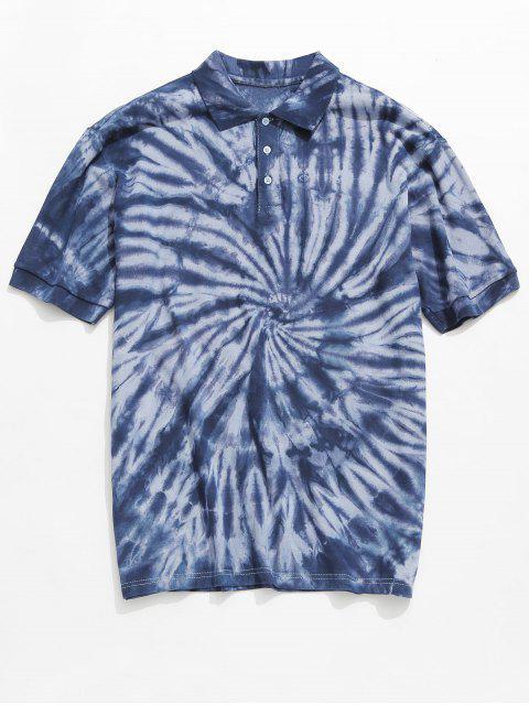 Camiseta con cuello de gafa teñida anudada - Azul Claro L Mobile