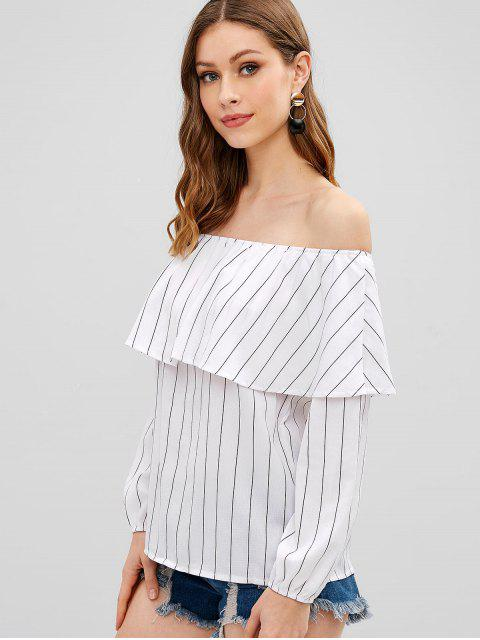 fancy Striped Off The Shoulder Ruffle Top - WHITE M Mobile