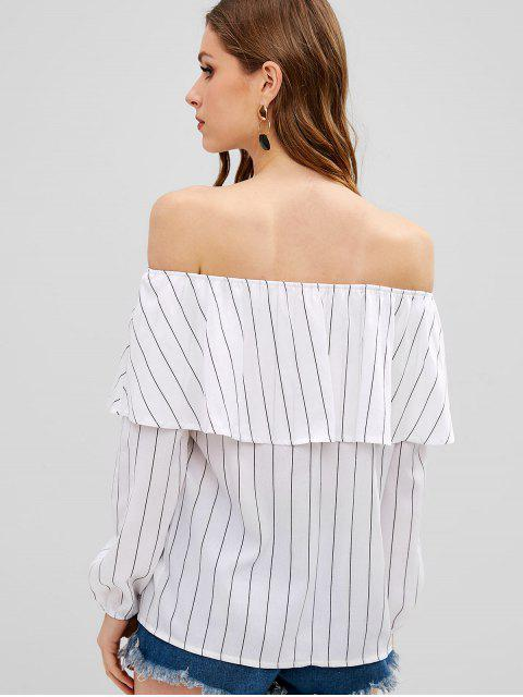 buy Striped Off The Shoulder Ruffle Top - WHITE S Mobile