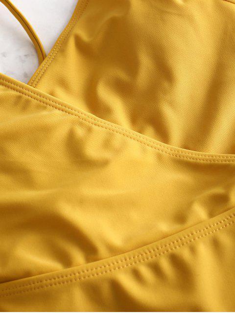 ZAFUL Lace-up Crisscross Surplice Swimsuit - Amarillo Brillante S Mobile