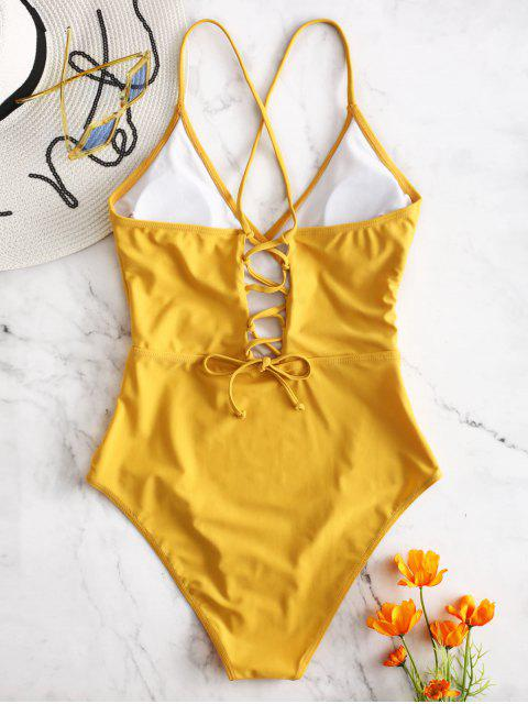 trendy ZAFUL Lace-up Crisscross Surplice Swimsuit - BRIGHT YELLOW L Mobile