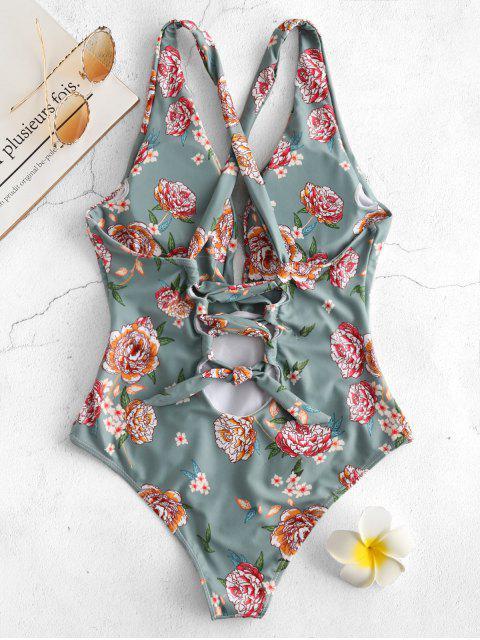 ZAFUL Floral hundiendo el traje de baño con cordones - Multicolor S Mobile