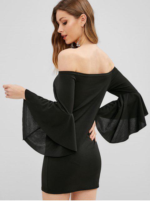 Robe moulante à manches courtes et épaules dénudées - Noir XL Mobile