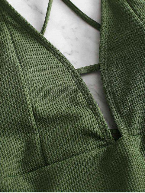 ZAFUL繫帶交叉羅紋泳衣 - 迷彩綠色 L Mobile