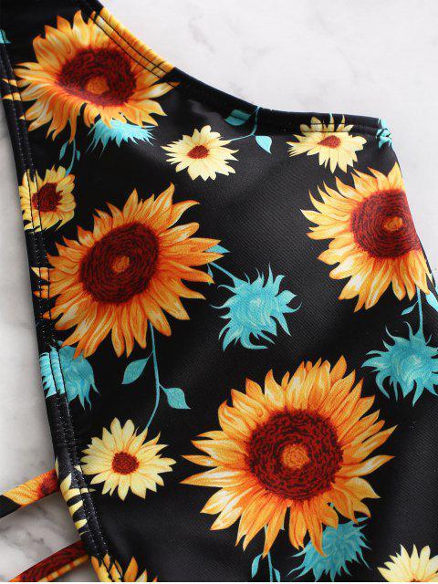 shops ZAFUL Sunflower Print One-piece Swimsuit - NIGHT M Mobile