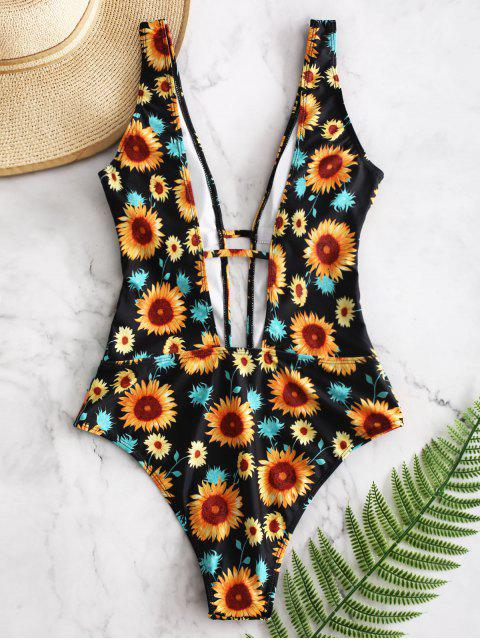 womens ZAFUL Sunflower Print One-piece Swimsuit - NIGHT L Mobile