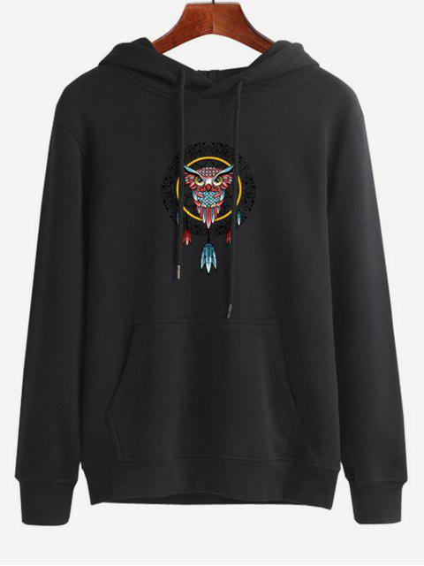 unique Owl Dreamcatcher Print Pullover Hoodie - BLACK M Mobile