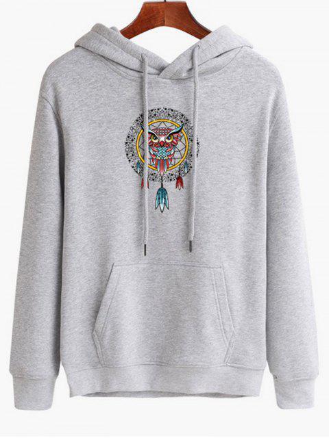 womens Owl Dreamcatcher Print Pullover Hoodie - PLATINUM M Mobile