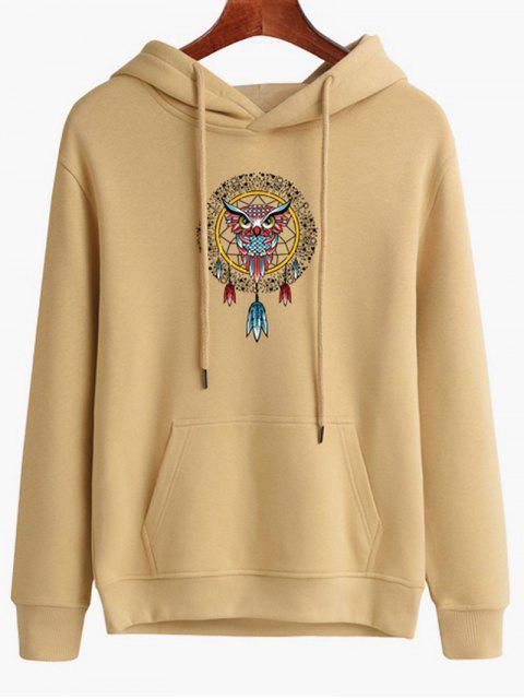 women's Owl Dreamcatcher Print Pullover Hoodie - LIGHT SALMON M Mobile