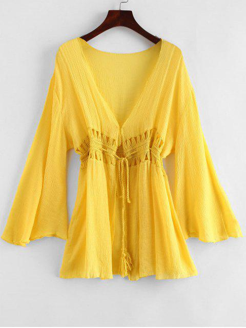 chic Tie Tassels Crochet Panel Cover-up - MUSTARD ONE SIZE Mobile