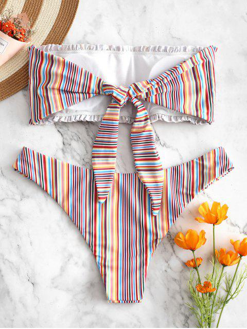 women ZAFUL Colorful Striped Frilled Smocked Bikini Set - MULTI-A M Mobile