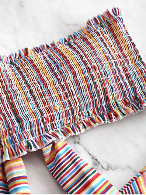Zaful conjunto de biquíni com listras coloridas frilled Smocked - Multi-A L Mobile