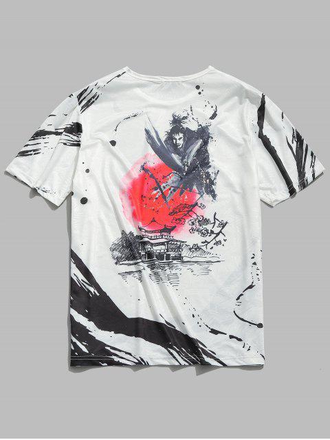 Lavado chino pintura lisa impresión camiseta - Blanco M Mobile