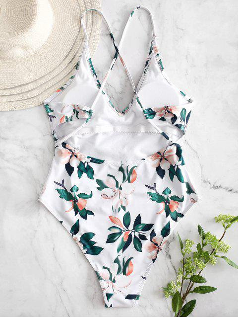 ZAFUL Planta Imprimir Criss Cross Swimsuit - Branco L Mobile