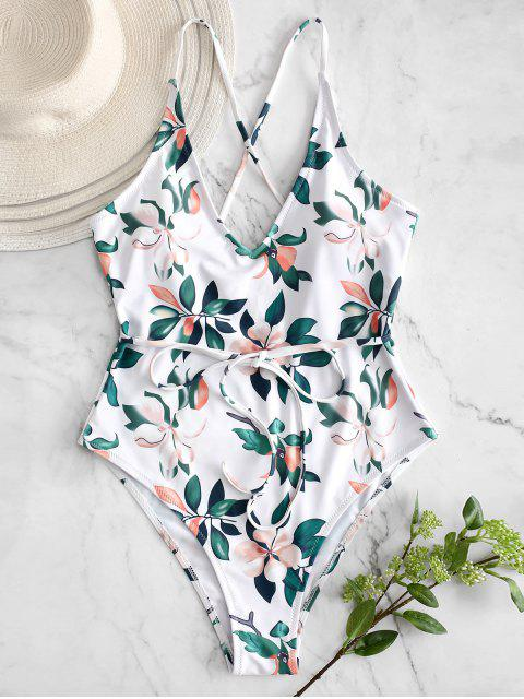 trendy ZAFUL Plant Print Criss Cross Swimsuit - WHITE XL Mobile