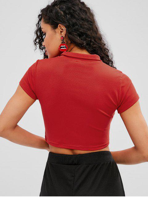 Zip Front Plain Crop Tee - Rojo M Mobile