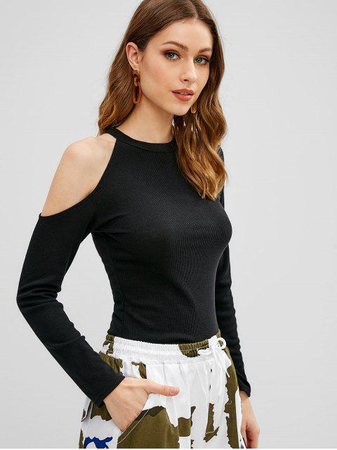 chic Long Sleeve Cut Out Ribbed Tee - BLACK S Mobile