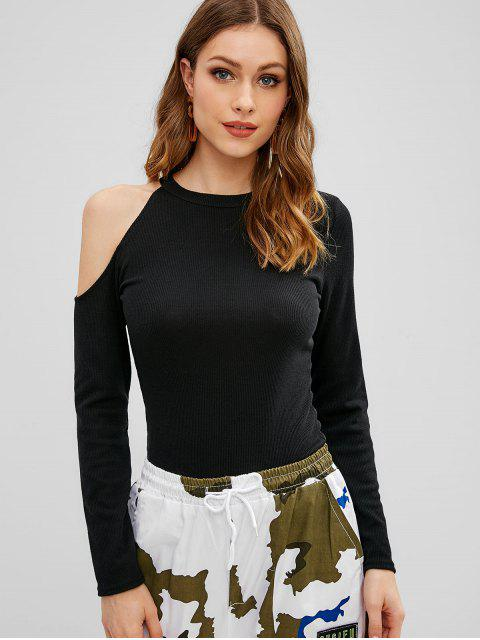T-shirt Côtelé Découpé à Manches Longues - Noir XL Mobile