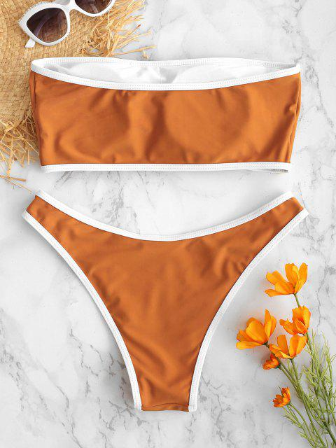 ZAFUL Shell Decorado Bandeau Bikini Set - Cor de Laranja de Tigre S Mobile
