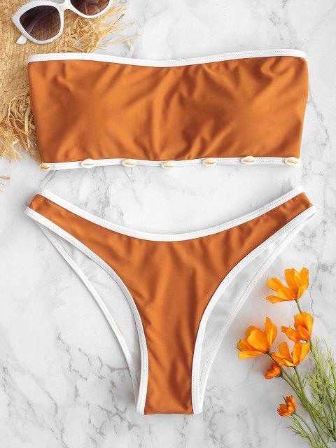 ZAFUL Shell Decorado Bandeau Bikini Set - Cor de Laranja de Tigre M Mobile