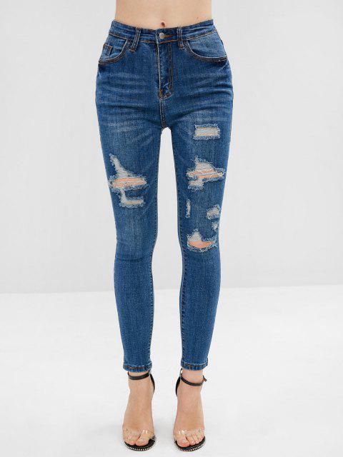 Jeans Flacos Elásticos Rasgados - Azul M Mobile