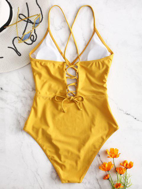 fashion ZAFUL Lace-up Crisscross Surplice Swimsuit - BRIGHT YELLOW XL Mobile