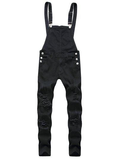 Zip Fly Distressed Denim Jumpsuit - Black Xs