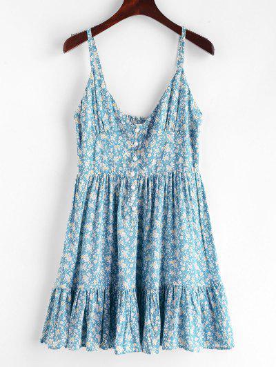 d00cdda5bb2aa ZAFUL Ruffles Half Buttoned Floral Dress - Baby Blue M. QUICK VIEW. 33%OFF