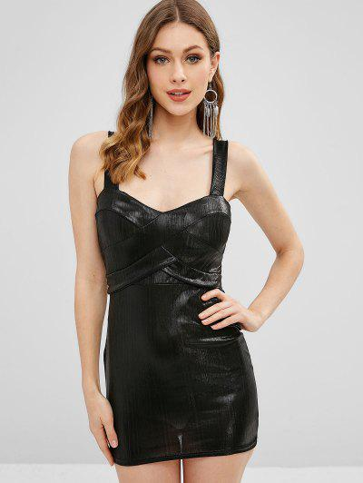 Padded Shiny Sheath Dress - Black S