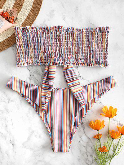 ZAFUL Colorful Striped Frilled Smocked Bikini Set - Multi-a M