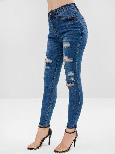 Jeans Skinny Elástico Angustiado - Azul L