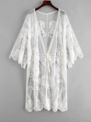 zaful Embroidered Tie Front Kimono