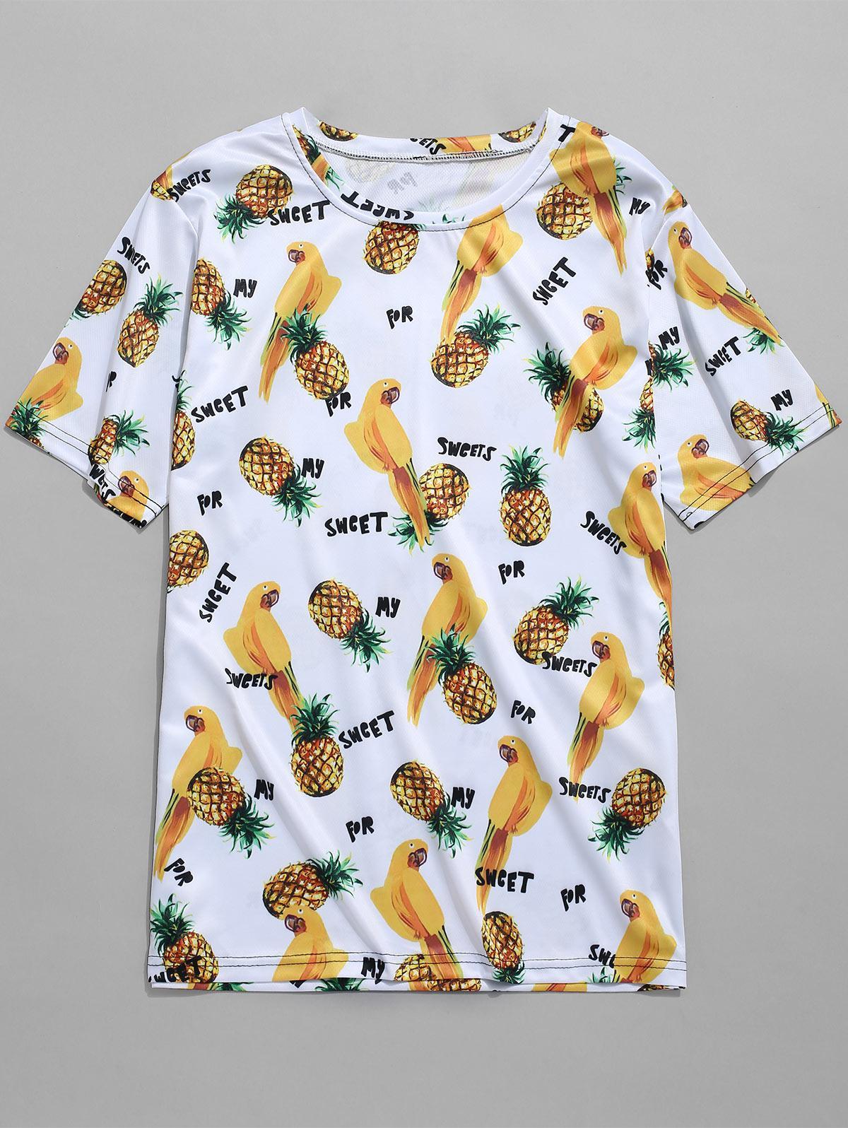 Pineapples Parrots Print T-shirt, Multi-e