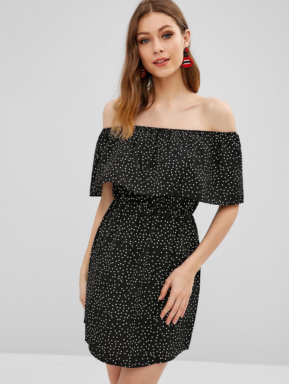 Polka Dot Ruffle Overlay Mini Off Shoulder Dress, Black