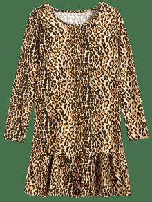 41% OFF  2019 Ruffles Leopard Long Sleeve Dress In LEOPARD ONE SIZE ... 26ff42387