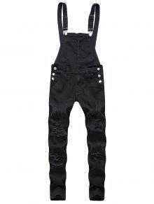 24f9c57d4c5a 32% OFF  2019 Zip Fly Distressed Denim Jumpsuit In BLACK