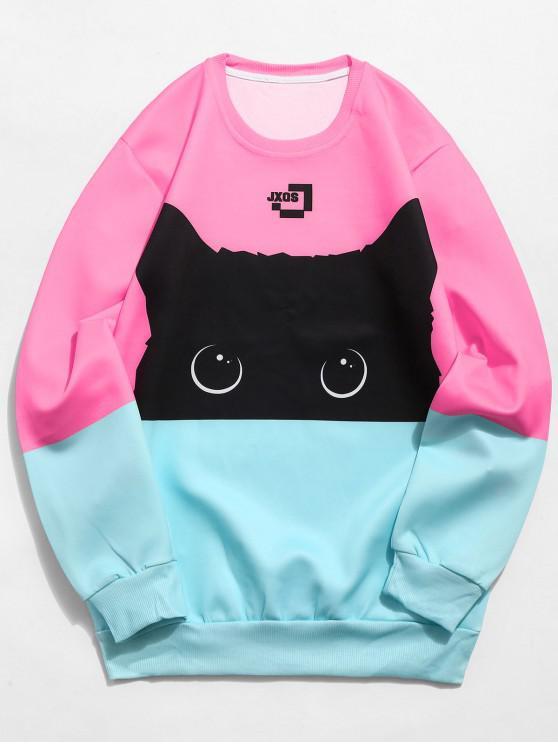 Color Block Cat Print Sweatshirt - Rosado XL