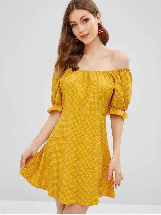 women's ZAFUL Polka Dot Off Shoulder Ruffled Dress - BEE YELLOW L