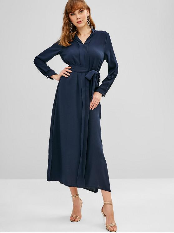 Vestido Maxi com Fenda Lateral - Azul de Ardósia Escura M