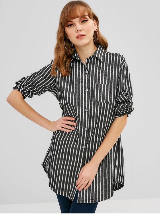 womens Striped Oversized Shirt - MULTI ONE SIZE