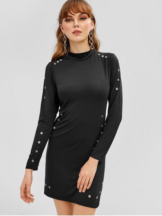 unique Grommets Bodycon Mini Dress - BLACK M