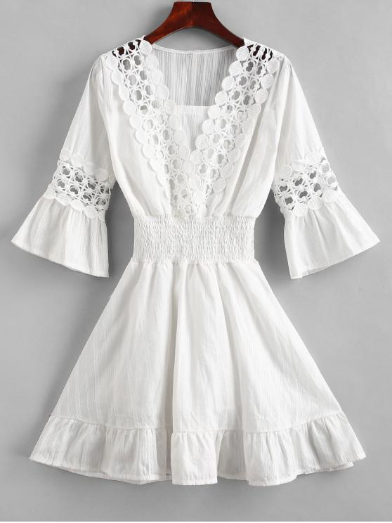a05b376a5376 41% OFF] 2019 Crochet Panel Shirred Waist Beach Dress In WHITE | ZAFUL