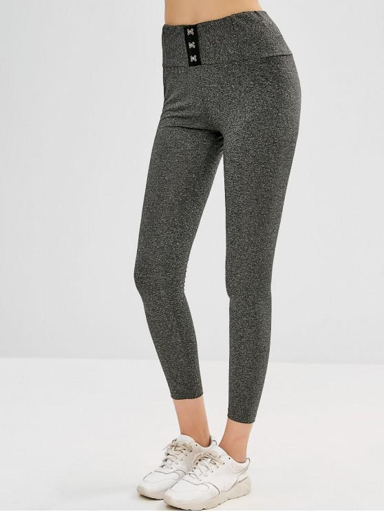 affordable Hook and Eye Marl Leggings - GRAY S